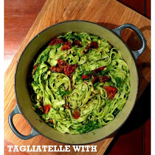 Tagliatelle with Avocado and Spinach 'Pesto', French Beans and Slow-Roast Tomatoes Recipe