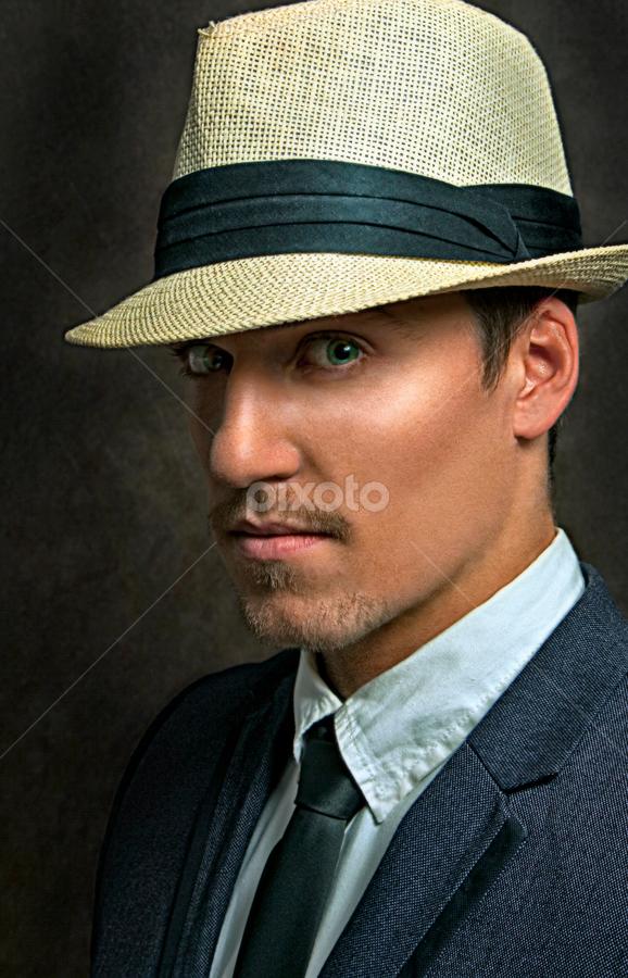 Young hustler by Ziga KolSek - People Portraits of Men ( studio, lights, face, suit, gangster, portrait, man, hustler, hat, photography, closeup, close, up,  )
