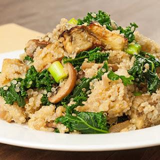Quinoa with Roasted Eggplant, Kale and Mushrooms.