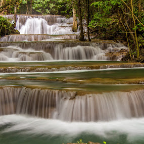 Thailand Waterfall. by John Greene - Landscapes Waterscapes ( huay mae khamin waterfall, nature, carrigallen, beautiful, thailand, john greene, kanchanaburi )