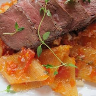 Fresh Rigatoni with Marinara and Steak.