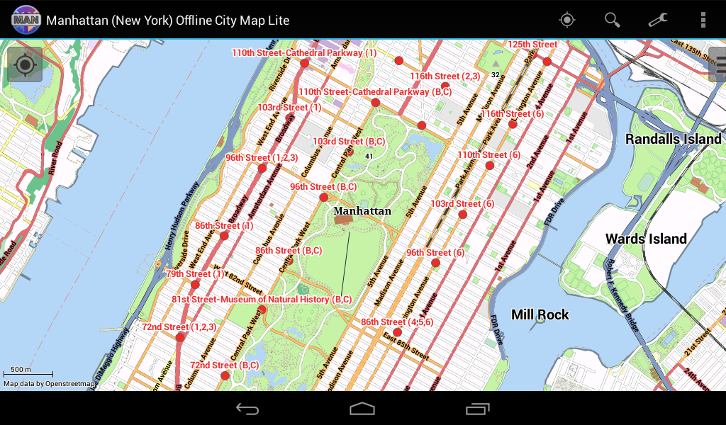 manhattan offline stadtplan android apps auf google play. Black Bedroom Furniture Sets. Home Design Ideas