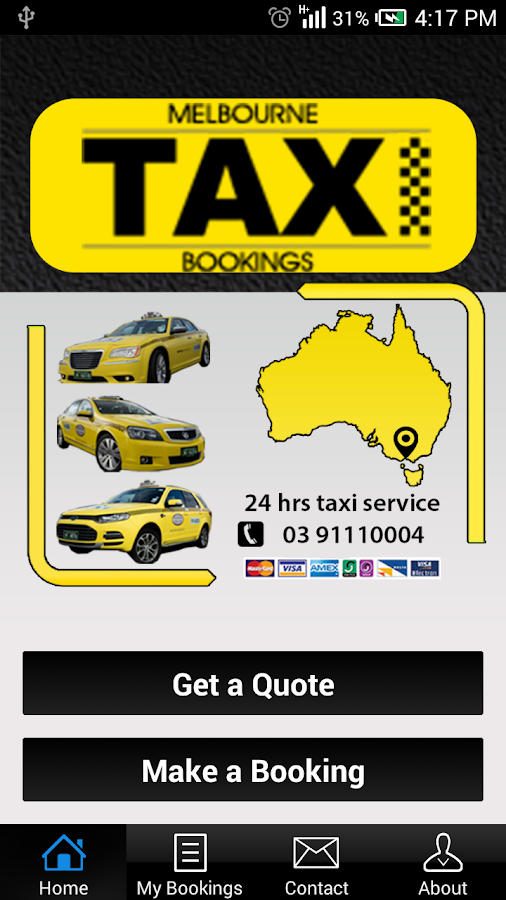 Melbourne Taxi Bookings- screenshot