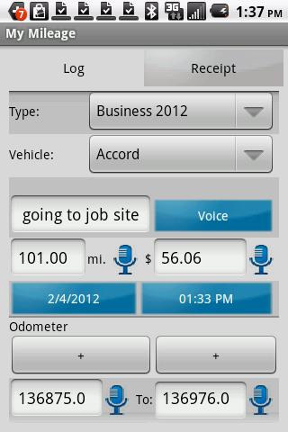 My Mileage Log & Expense - screenshot