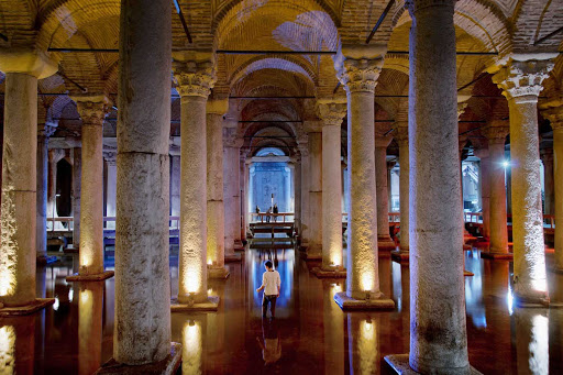 Basilica-Cistern-Istanbul - The Basilica Cistern is the largest of several hundred ancient cisterns that lie beneath the city of Istanbul.