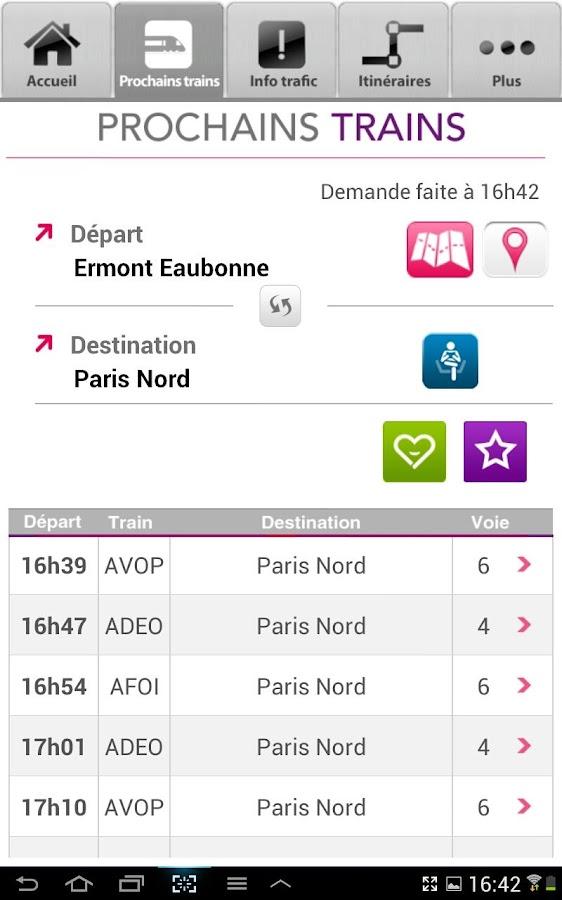 SNCF Transilien- screenshot