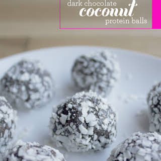 Dark Chocolate Coconut Protein Balls.