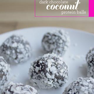 Dark Chocolate Coconut Protein Balls.