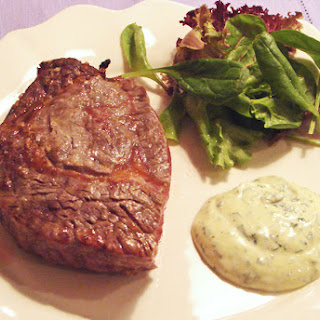 Marinated grilled Fillet Steaks with Garlic and Basil Mayonnaise.