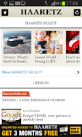 Screenshot of Haaretz English Edition