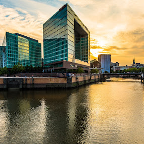 Sunset & Glass by Franco Beccari - Buildings & Architecture Office Buildings & Hotels ( reflection, building, sunset, glass, buildings, reflections, dusk, sun, river,  )