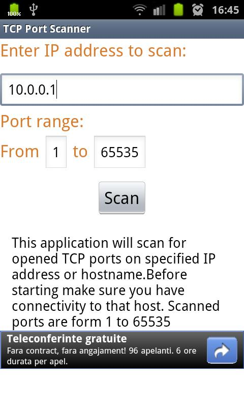 TCP Port Scanner - screenshot