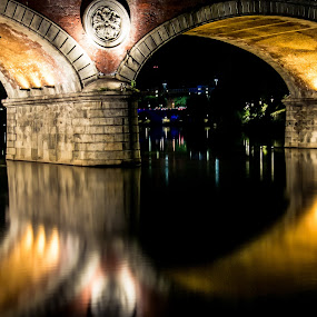 The river's light by Florin  Galan - Buildings & Architecture Bridges & Suspended Structures ( lights, turin, night, bridge, po, , Architecture, Ceilings, Ceiling, Buildings, Building, city at night, street at night, park at night, nightlife, night life, nighttime in the city )