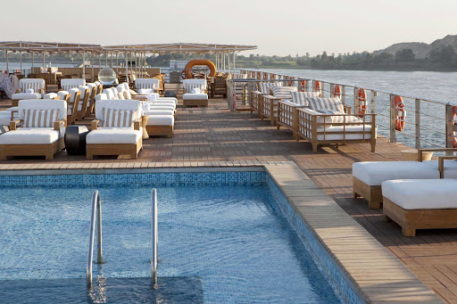 Uniworld-River-Tosca-sundeck-3 - Cool off after a day of sightseeing in River Tosca's pool as you explore Egypt.