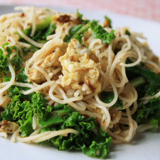 Stir-Fried Rice Noodles with Eggs and Greens.