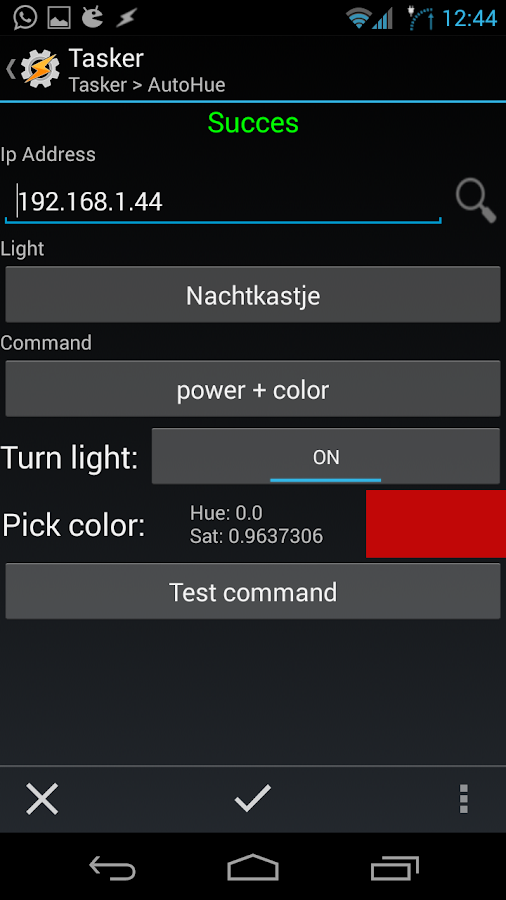 AutoHue (Tasker Plug-in)- screenshot