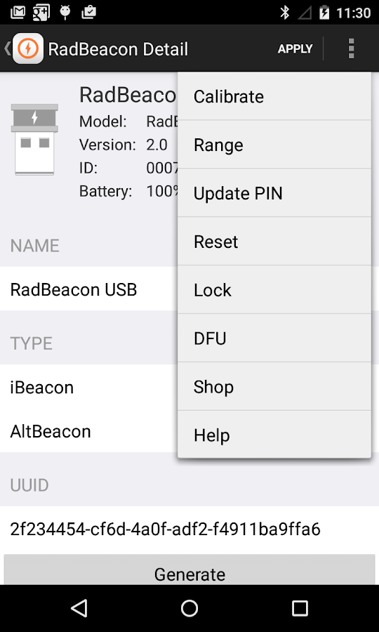 RadBeacon- screenshot