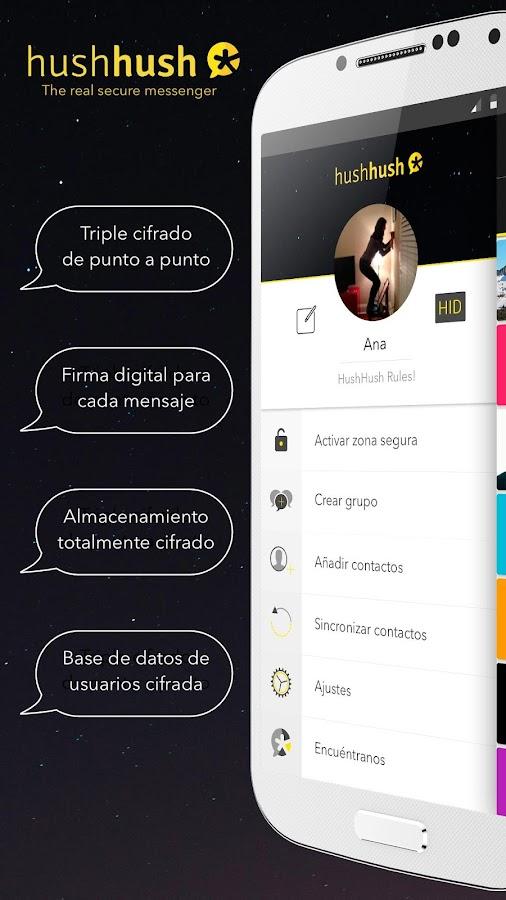 HushHush mensajería segura - screenshot
