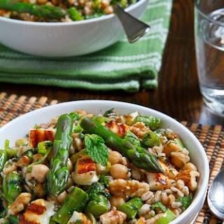 Asparagus, Halloumi and Chickpea Farro Salad.