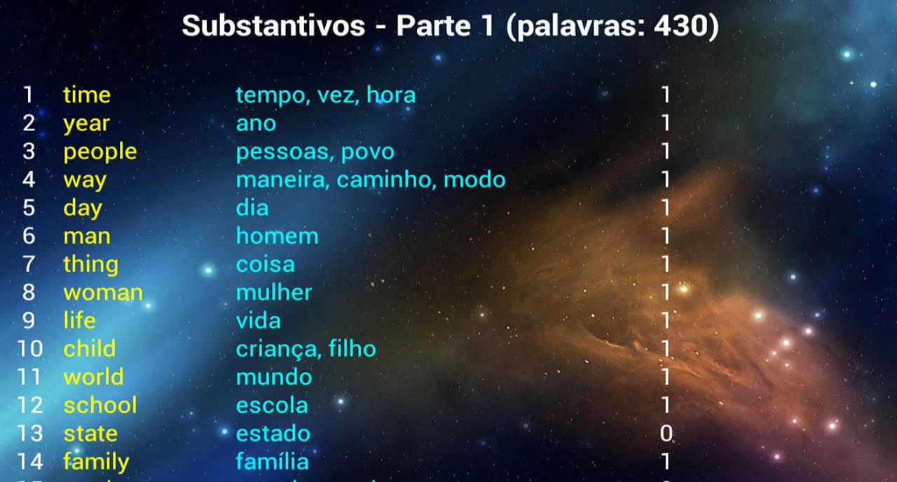 English Words for Portuguese- screenshot