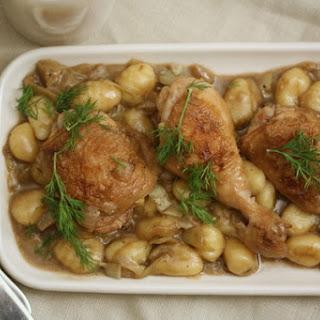 Chicken Fricassée with Artichokes, Gnocchi, and Crème Fraîche