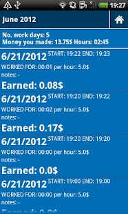 Working hours time card - screenshot thumbnail