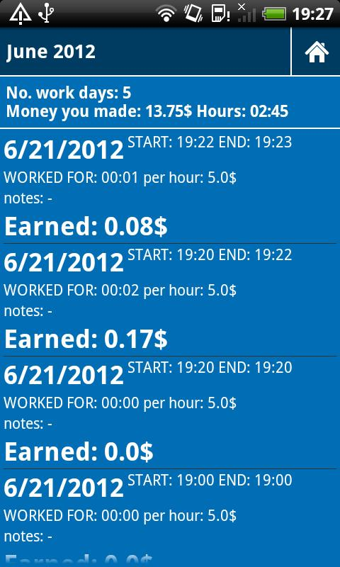 Working hours time card - screenshot