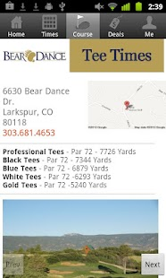 Bear Dance Golf Tee Times- screenshot thumbnail