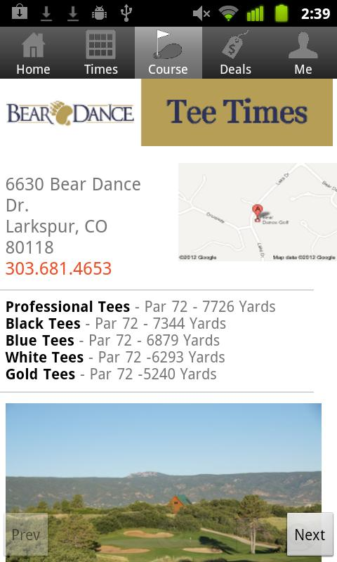 Bear Dance Golf Tee Times - screenshot