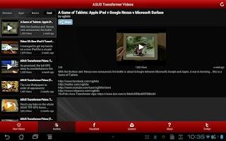 Screenshot of Nexus 7 and Transformer Videos