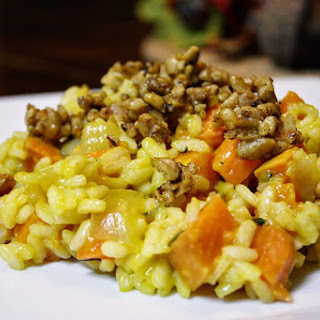 Sweet Potato Risotto With Rosemary And Spicy Maple Walnuts