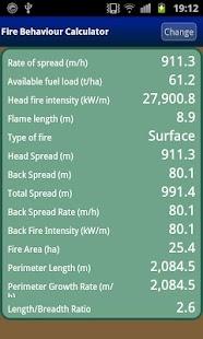 Fire Behaviour Calculator Beta - náhled