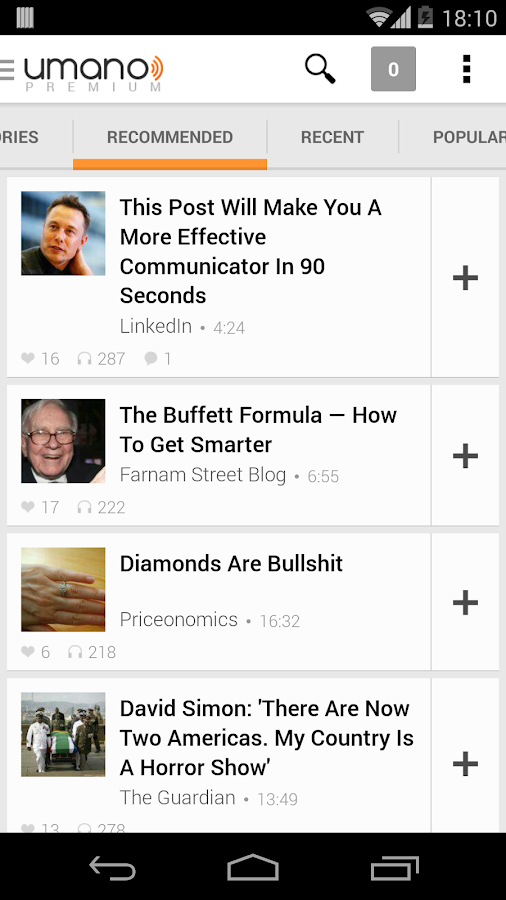 Umano: Listen to News Articles - screenshot