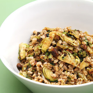 Farro with Pan-Roasted Brussels Sprouts and Pistachios Recipe