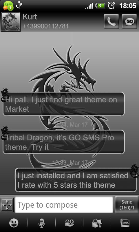 Tribal Dragon theme GO SMS Pro- screenshot