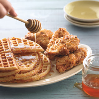 Golden Cornmeal Waffles with Fried Chicken.