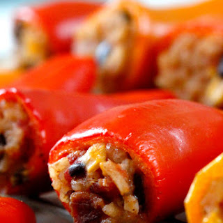 Cheesy Bacon Enchilada Rice (Mini Stuffed Bell Peppers)