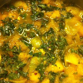 Chickpea Stew with acorn squash, kale and toasted pecans