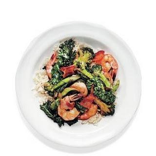 Shrimp, Bacon, and Broccoli Stir-Fry.