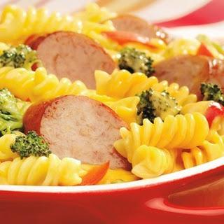 Cheesy Mac & Veggie Smoked Sausage Casserole