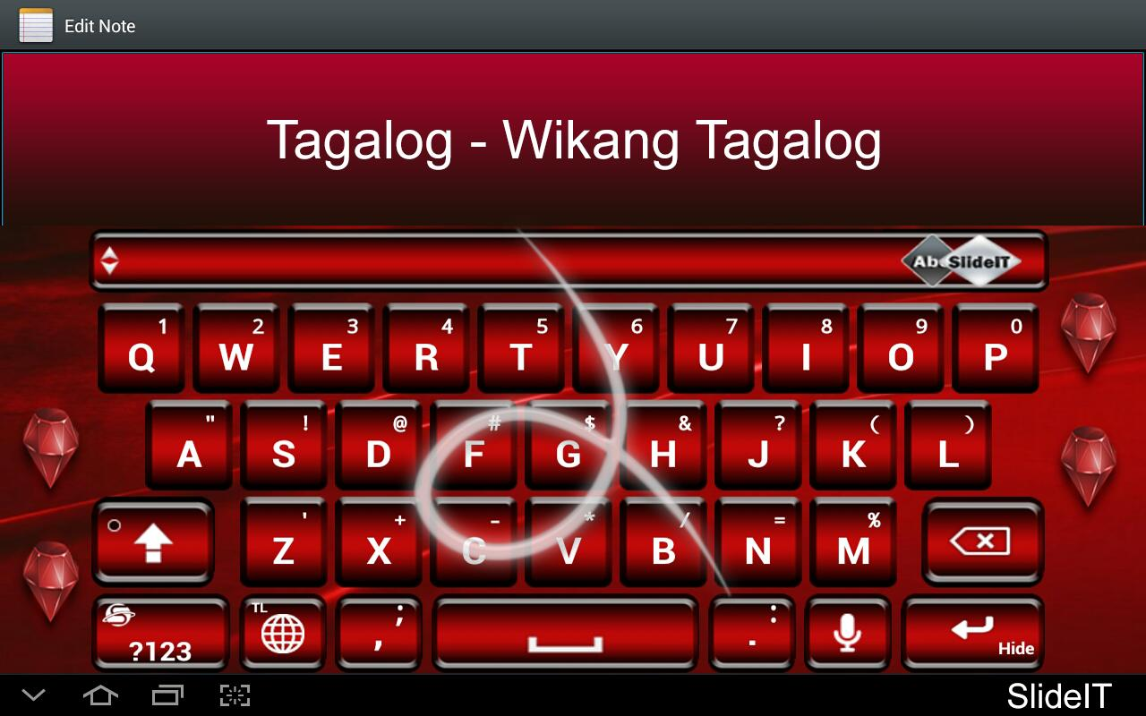 SlideIT Tagalog-Filipino pack - screenshot