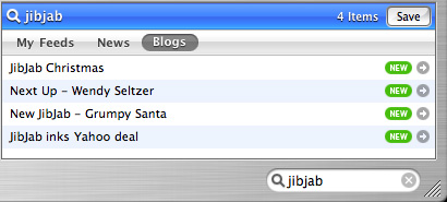 NewsFire RSS search using Feedster
