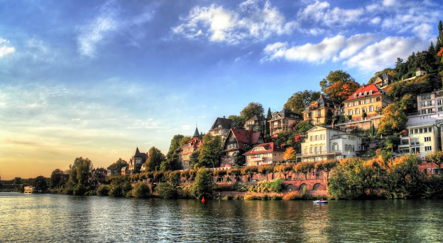 Home along the river of Heidelberg by Charles Ong - Buildings & Architecture Homes ( houses, heidelberg, homes, river,  )