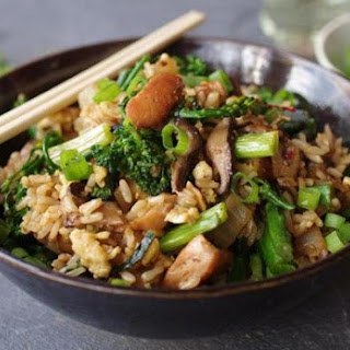 Brown Fried Rice With Chicken And Broccolini.