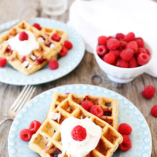 Coconut Raspberry Waffles with Coconut Whipped Cream.