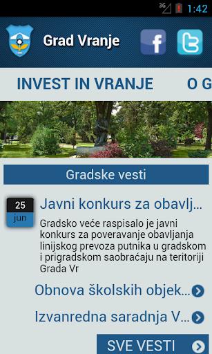 Grad Vranje android aplikacija lokalne samouprave