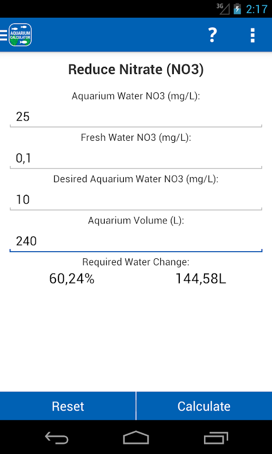 Aquarium Calculator - screenshot