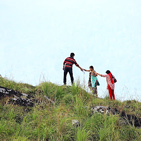 family  by Arjun Madhav - People Family ( hill, fog, family, landscape, people,  )