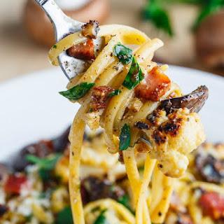 Roasted Cauliflower and Mushroom Carbonara