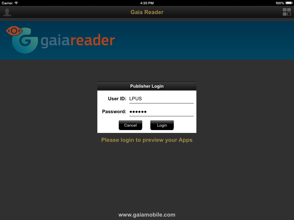 Gaia Reader- screenshot